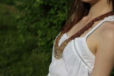 Boho Chic Crochet  Necklace Gemstone Jewelry by Elvish Things