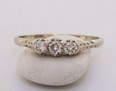 Art Deco Engagement Ring, Antique Fleur De Lys French Diamond Ring in 18k #Antique #SolitairewithAccents Deco Engagement Ring, Diamond Engagement Rings, Art Deco Diamond Rings, Brilliant Diamond, Black Rings, White Gold, Wedding Rings, Gemstones, Instagram
