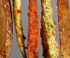 Carrot fries, Spiced sweet potato fries, Chipotle cornmeal green bean fries Parmesan zucchini fries... Double-click for the recipes