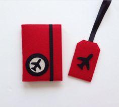 Kırmızı Pasaport Kılıfı& Valiz Etiketi Seti