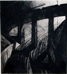 Cyril Power - The Viaduct No 7 - Drypoint print
