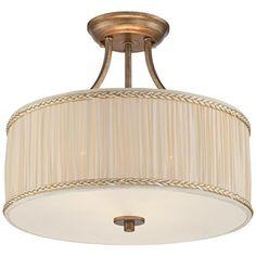 "Grenada 16 1/4"" Wide Cream Pleated Shade Ceiling Light"