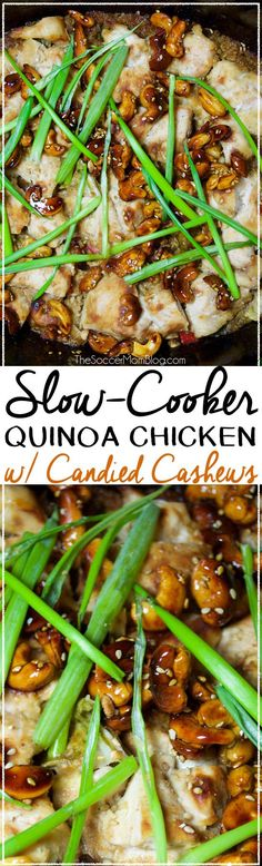 This Slow Cooker Quinoa Chicken recipe puts a healthy twist on a classic takeout favorite, and it's absolutely delicious! (And the candied cashews are out of this world good!!)