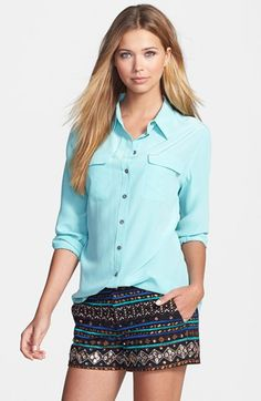 Two by Vince Camuto Silk Utility Blouse available at #Nordstrom