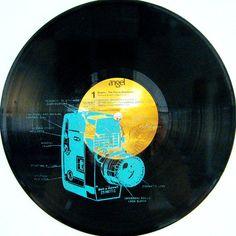 Screen Printed Vinyl Record, 12 inch LP, Vintage Camera-$25