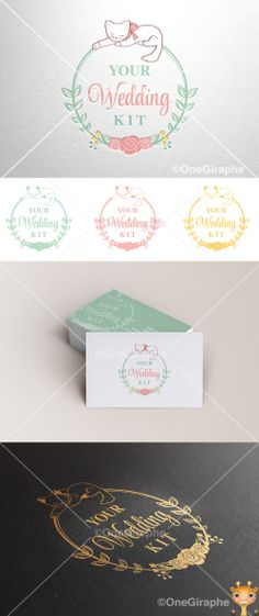 Logo Your Wedding Kit Brand Design, Logo Design, Graphic Design, Form Style, Bussiness Card, Wedding Gold, Cat Logo, Creative Portfolio, Branding Ideas