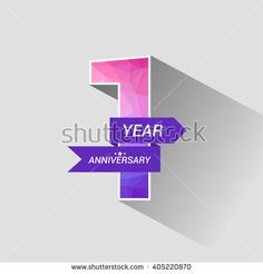 1 Years Anniversary with Low Poly Design - stock vector