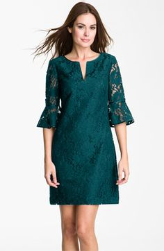 Adrianna Papell Ruffle Sleeve Lace Dress available at #Nordstrom. Also comes in blue but teal is my #1 for you