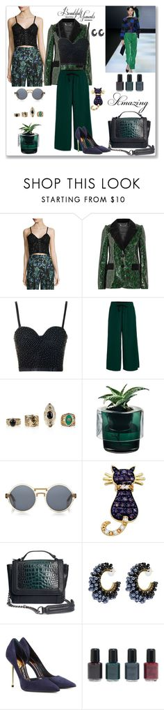 """""""Green Look"""" by liudmyla-stoian ❤ liked on Polyvore featuring Haute Hippie, Marc Jacobs, Topshop, Forte Forte, Nude, Finlay & Co., BillyTheTree, H&M, Miriam Haskell and Champion"""