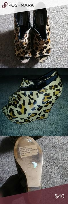 Leopard print Steve Madden high heel wedges Size 10 leopard print Steve Madden wedges made with real fur Steve Madden Shoes Wedges