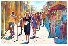 "Street in Montelimar by Graham Berry Watercolor ~ 12"" x 18"""