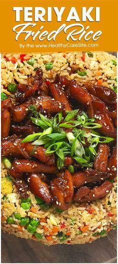 Teriyaki Fried Rice – HealthyCareSite Teriyaki Sauce, Teriyaki Chicken, Marinated Chicken, Skinless Chicken Thighs, Broccoli Florets, Serving Platters, Wok, Chinese Food, Fried Rice