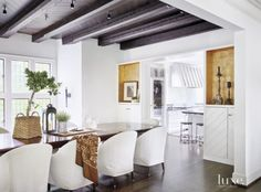 Transtional White Dining Room with Black-Stained Ceiling/Dining inspiration