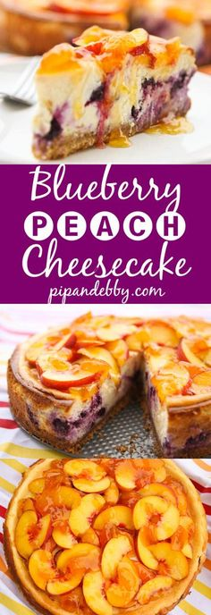 Peach-Topped Blueberry Cheesecake | Two delicious fruits in a single, totally yummy cheesecake!