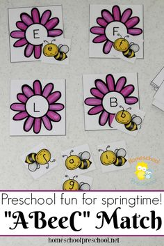 This preschool alphabet matching game is perfect for your spring activities! Your little learners will love helping each bee find its home! | homeschoolpreschool.net via @homeschlprek