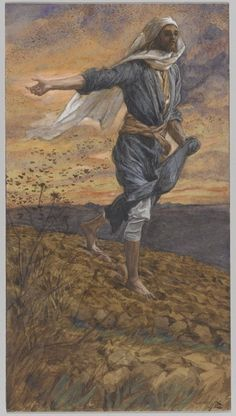 The Sower, Illustration for 'The Life of Christ', by James Jacques Joseph Tissot Art Print Magnolia Box Size: Extra Large Framed Art Prints, Painting Prints, Canvas Prints, Art Paintings, Catholic Daily Reflections, Lucas 8, Francois Xavier, Bible Illustrations, Life Of Christ