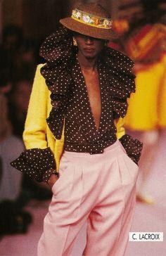 KATOUCHA NIANE, Christian Lacroix Show, 1989 S/S, VogueSpirit scan.