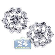 Womens 1.25 Carat Diamond Vintage Flower Design Stud Earrings 18K White Gold Green Peridot, Purple Amethyst, Pink Sapphire, Round Cut Diamond, Diamond Shapes, Vintage Diamond, Diamond Studs, Vintage Flowers, Flower Designs