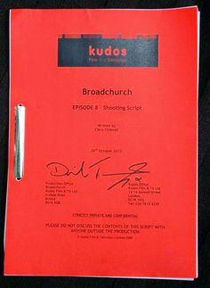 David Tennant Signs Broadchurch Script For Charity Auction Script Writing, John Barrowman, Broadchurch, Bbc America, David Tennant, Tardis, Cliff, Dramas, Charity