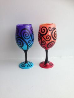 Hand-Painted-Blue-and-Orange-Swirl-Wine-Glass-Set-of-2-Starry-Night-Wine-Glasses