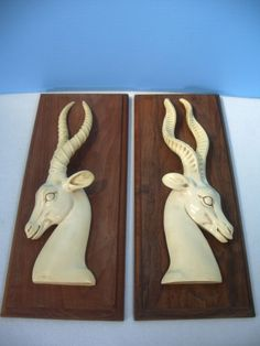 Italian Alabaster Impala Wall Plaques Set of 2 Walnut Male Female Marked GR