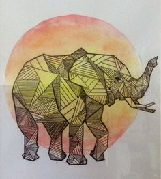 geometric elephant watercolour sunset Would be nice as a tatoo, wouldn't it? Watercolor Sunset, Watercolour, Geometric Elephant, Geometric Painting, Tatoos, Rooster, Create, Drawings, Nice