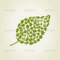 leaf made from leafs trees. A vector illustration