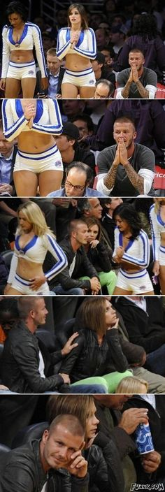 Even though he has one of the hottest women on the planet as a wife, he still looks at cheerleaders in skimpy outfits and gets in trouble for it. Men will never change. Haha, David and Victoria Beckham.