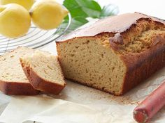 Healthy eating doesn't mean you have to skip dessert. Get our healthier cheesecake recipes, fruit desserts, lightened up brownies and more from Food Network. Yogurt Pound Cake Recipe, Pound Cake Recipes, Yogurt Cake, Moms Zucchini Bread Recipe, Bake Zucchini, Food Network Recipes, Cooking Recipes, Cooking Food, Desserts Sains