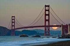 Full moon behind the Golden Gate Bridge | Can't wait to go back to San Francisco. One of my favourite cities in the world.
