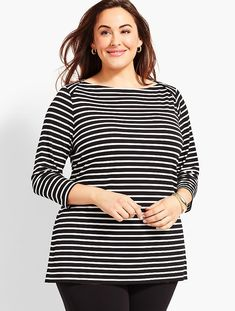 Plus Size Exclusive Knit Jersey Envelope-Neck Tunic-Derby Stripe | Talbots