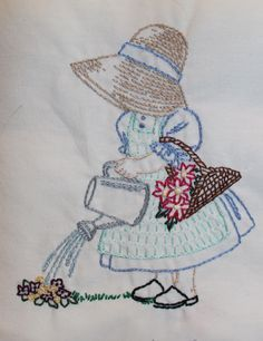 Stitched by my sister :) This is from Pattern Central. This is April from the 12 month Sunbonnet girls series. Hand Embroidery Patterns, Applique Patterns, Vintage Embroidery, Embroidery Applique, Cross Stitch Embroidery, Quilt Patterns, Machine Embroidery, Paper Embroidery, Sue Sunbonnet