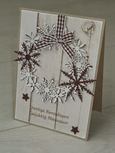 card christmas snowflake wreath wood plank background Elske's Scrap Fun: 3 Kerstkaarten