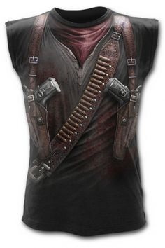 Spiral Gothic Steampunk T-Shirt Vest with Holster Wrap AO Design