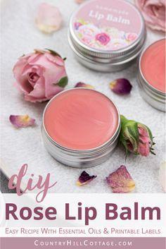 DIY Rose Sugar Scrub Cubes - Easy Sugar Body Scrub Recipe & Gift Idea - How to make DIY tinted rose lip balm is made with moisturizing beeswax, coconut oil and essential o - Homemade Lip Balm, Diy Lip Balm, Tinted Lip Balm, Homemade Lipstick, Beeswax Lip Balm, Lip Balm Recipes, Soap Recipes, Beeswax Recipes, Diy Beauté