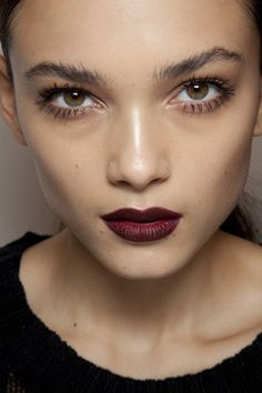the dark wine lips look so lovely with the clean, simple foundation & mascara.