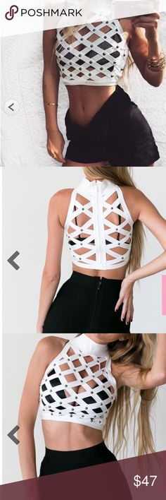 Cute white bandage top Ultra gorgeous interlaced bandage strips Secured gold tone studs Zipper on back💗💗💗   Body con fit Stretchy material 90% Rayon 9% Nylon 1% Spandex Tops Crop Tops