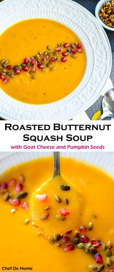 Creamy Gluten free Roasted Butternut Squash Soup with Tangy Goat Cheese and crunchy toasted Pumpkin Seeds | chefdehome.com