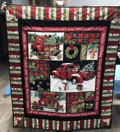 Christmas Quilting Projects, Christmas Tree Quilt, Christmas Red Truck, Christmas Quilt Patterns, Christmas Sewing, Christmas Crafts, Christmas Stuff, Xmas, Easy Quilts