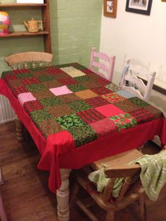 Patchwork christmas table cloth.