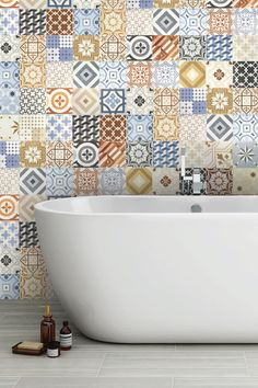 Patterned bathroom tiles (also known as both Spanish or Moroccan tiles) can create a stunning visual effect in your bathroom. Patterned Bathroom Tiles, Spanish Style Bathrooms, Small Bathroom Diy, Bathroom Styling, Bathroom Wall Tile, Moroccan Tile Bathroom, Bathroom Feature Wall Tile, Morrocan Tile Bathroom, Moroccan Bathroom