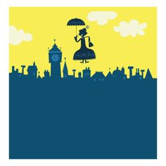Two of my favorite things!! Mary Poppins in the Mary Blair style!!! Mary Poppins in Sky Print at Art.com