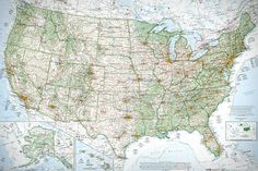 """""""The Essential Geography of the United States of America"""" 50"""" x 35.3"""" print by David Imus."""