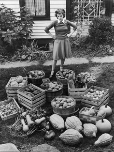 WWII victory garden harvest -- a fun photo to share with Seniors who are doing the Sow What program.