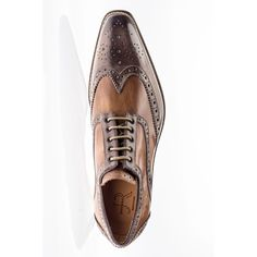 Jose Real Men's Shoes Hand-Painted Cafe & Cuoio Calf Leather Oxfords R2318 (RE2000)