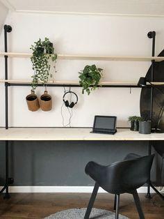 Home Office Design, Office Decor, Studio Living, Living Room, Tiny Office, Industrial Office, Scandinavian Design, My Room, Man Cave