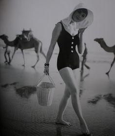 bathing suit: Maurice Handler model: Sondra Peterson photographer: Herman Landshoff published: Mademoiselle 1958 location: Maspalomas beach, the Canary Islands
