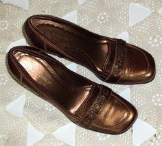 BCBG Loafer High Heel Shoes Metallic Bronze Pumps 7.5 M Faux Stones Squared Toes #BCBGirls #PumpsClassics