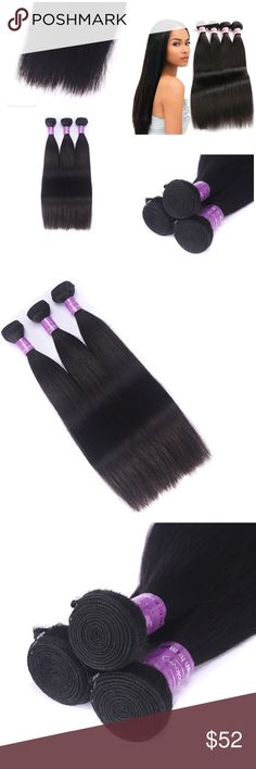 "Brazilian Hair Virgin Straight  3pack 10 12 14"" Brazilian Hair Virgin Straight Human Hair Bundles Extensions 7A Remy Silky Hair Natural Black 10 12 14 Inch New in package! Other"
