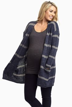 The ultimate fall essential has arrived and we are loving the trends in maternity clothing for the cool season. A perfectly striped knit maternity cardigan for everyday comfort and style. You can never go wrong with this classic style.